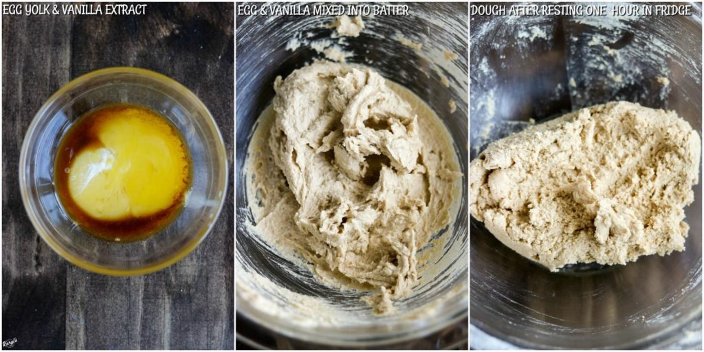 overhead process shots: egg and vanilla in a bowl; wet and dry ingredients mixed into butter mixture; dough after chilling in fridge