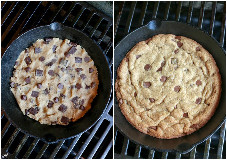 overhead process shots: raw dough on the grill; finished skillet cookie on the grill