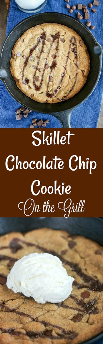 Skillet Chocolate Chip Cookie is a fun dessert treat. Warm, delicious, and full of chocolate chips & chunks, it's comfort in every bite. This is a small batch that's perfect for 2--or one, if you're adventurous. Even better, you can make it on the grill! #chocolatechipcookie #chocolate #cookie #skilletcookie #dessert #grilleddessert #karylskulinarykrusade