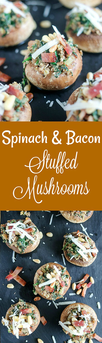 Spinach and Bacon Stuffed Mushrooms are a perfect party appetizer. Fill plump white mushroom caps with the easy, make-ahead filling, and they're fresh out of the oven in about 20 minutes #appetizer #easyappetizer #gamedayfood #tailgatefood #bitesized #mushrooms #stuffedmushrooms #spinach #bacon #pinenuts #karylskulinarykrusade