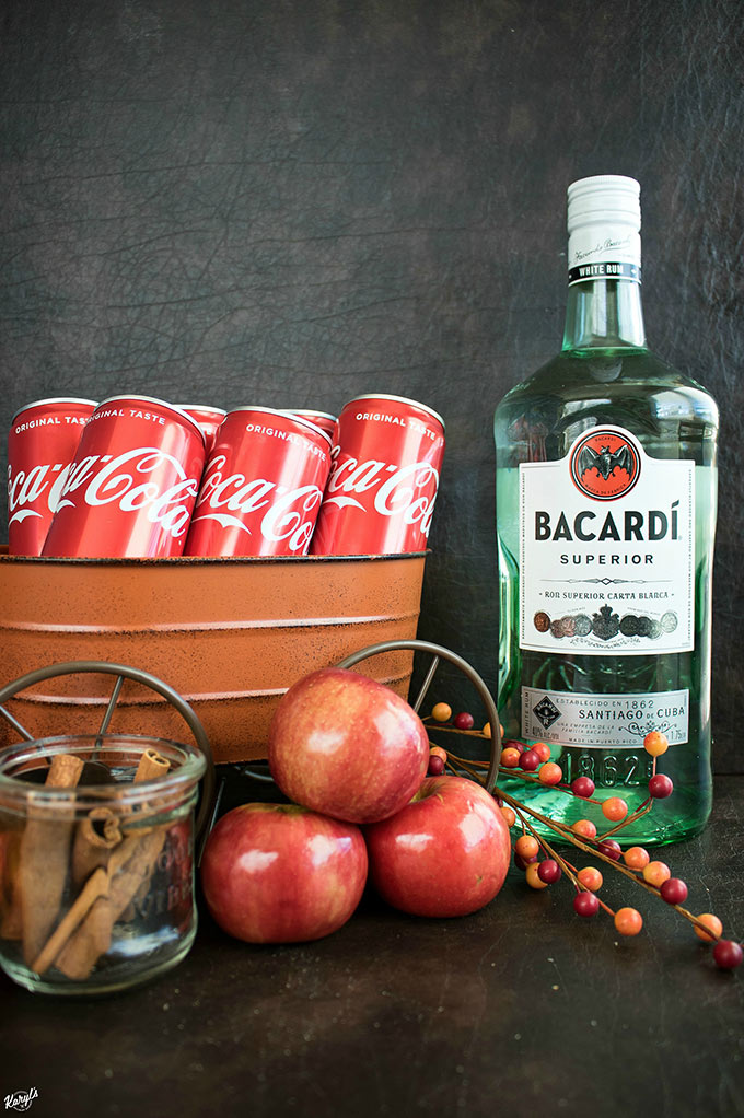 Msg 4 21+ Apple Cinnamon Rum Punch will be your new favorite Fall drink! Perfect for entertaining, this drink packs a punch, with a smooth finish and warming spice. Make a big batch ahead, and garnish with cinnamon sticks and apple slices #ad #CollectiveBias #TrickYourTreat #Bacardi #CocaCola #applecider #apples #cinnamon #rumpunch #alcoholicbeverage