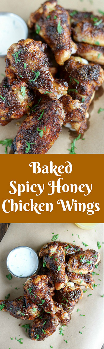 Baked Spicy Honey Chicken Wings are sweet and spicy in every bite. The sweet and sticky honey glaze, added in the last 5 minutes, perfectly complements the bold spice mix and takes these wings to new heights  #chicken #chickenwings #bakedchickenwings #honeyglaze #spicemix #appetizer #tailgatefood #gamedayfood #fingerfood #partyfood #karylskulinarykrusade