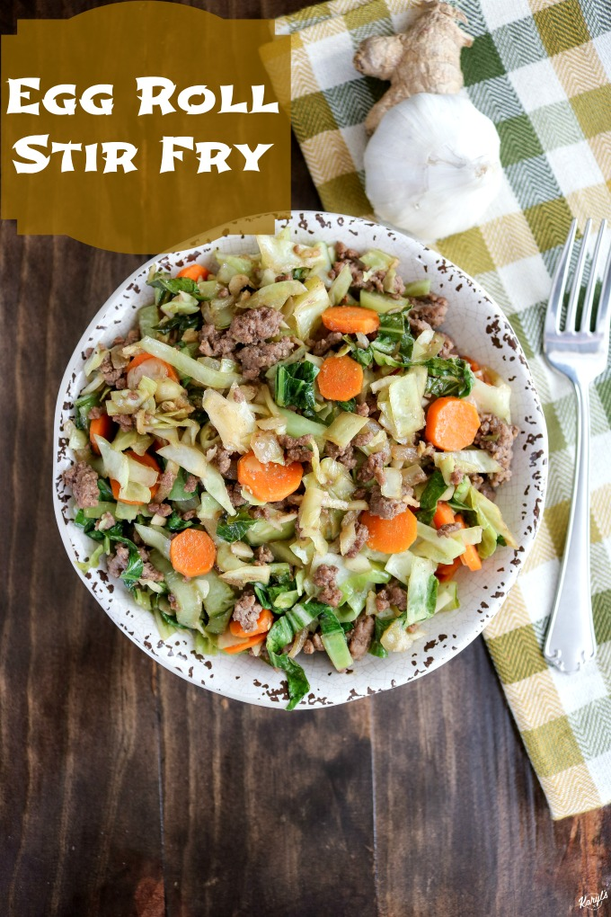 Egg Roll Stir Fry gives you all the goodness and flavor of an egg roll, with just a fraction of the fat and calories. This delicious, filling one-pot meal is ready in about 25 minutes #eggroll #eggrollstirfry #groundbeef #cabbage #bokchoy #stirfry #glutenfree #onepotmeal #skilletmeal #karylskulinarykrusade