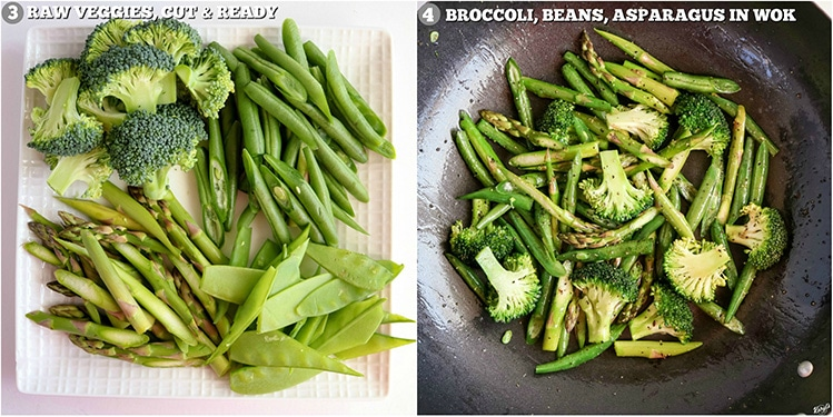 process pictures: cut vegetables on white plate on left; vegetables tossed in wok on right