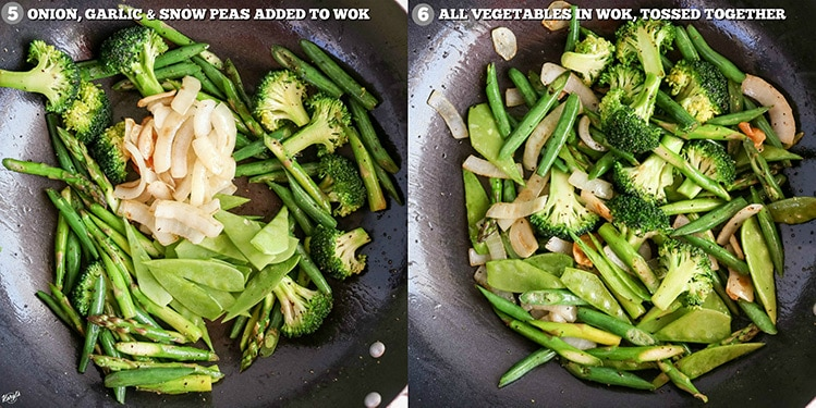 process pictures: vegetables with onion and garlic added in wok on left; all vegetables tossed together in wok on right