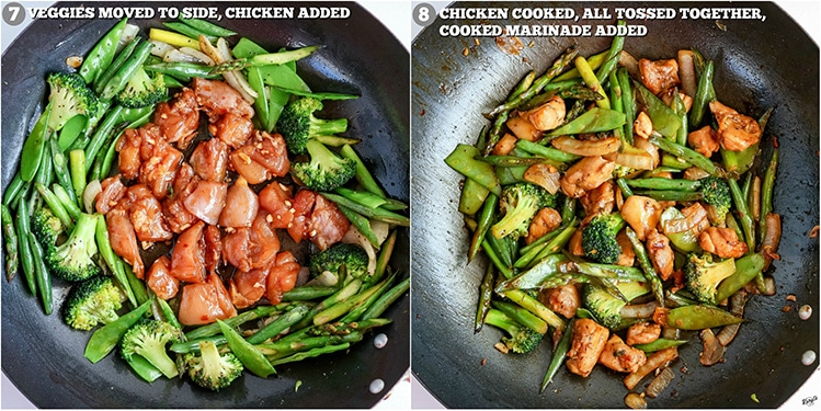process shots: cooked vegetables and raw chicken in wok on right; cooked chicken and vegetables, all tossed together in wok on right