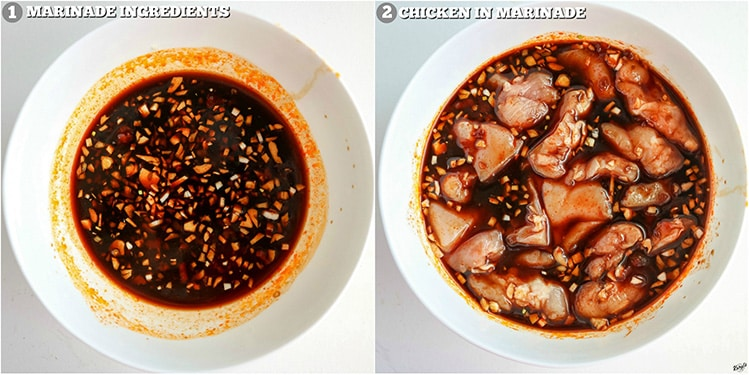 process shots: marinade in white bowl on left; marinade with chicken in white bowl on right