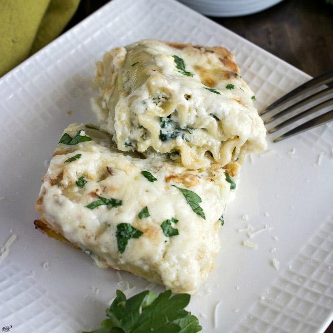 Spinach Alfredo Lasagna Roll Ups - Karyl's Kulinary Krusade