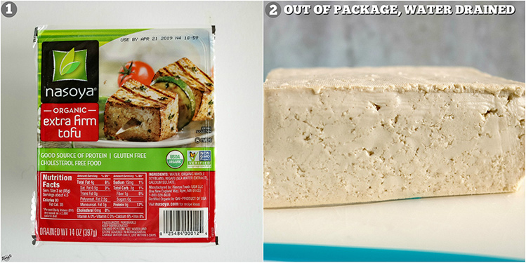 2 pictures - tofu in packaging, tofu out of packaging