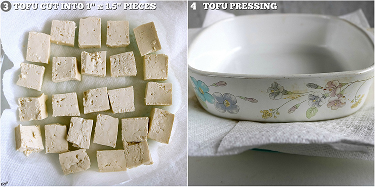 2 pictures, tofu cut into pieces (left), tofu pressing (right)