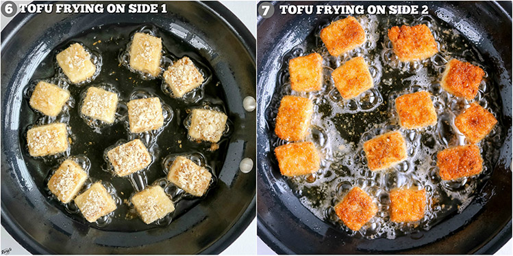overhead shots of tofu frying in skillet