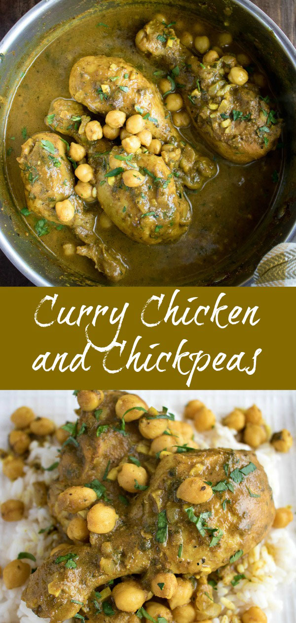 Curry Chicken and Chickpeas is traditional dish in Trinidad & Tobago. Madras curry powder provides the base of this bold and flavorful meal. Serve over rice or with roti bread to soak up every drop of gravy #chicken #curry #madrascurry #chickpeas #gravy #glutenfree #comfortfood #karylskulinarykrusade