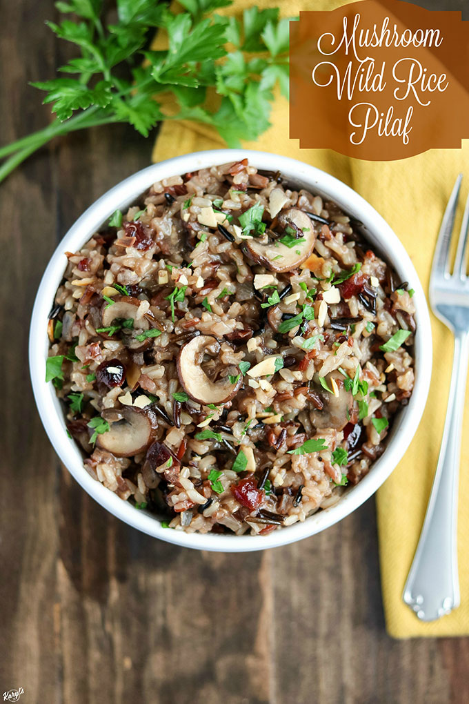 Mushroom Wild Rice Pilaf is a simple, yet elegant side dish that's perfect for holiday entertaining, potluck, or family dinner. Dried cranberries add a wonderful, natural sweetness that complements the other savory ingredients #wildrice #mushrooms #driedcranberries #almonds #pilaf #wildricepilaf #sidedish #sides #holidays #entertaining #vegetarian #karylskulinarykrusade