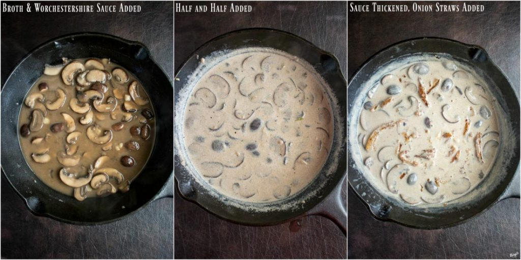 overhead process shots: 3 stages of mushroom preparation