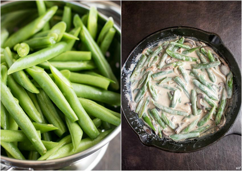 Skillet Green Bean Casserole is a sure-fire way to wow your guests for the holidays. Step up your game from the classic casserole by using all fresh ingredients, and making the mushroom sauce #casserole #greenbeancasserole #homemadesauce #comfortfood #holidays #sidedish #Thanksgivingsides #holidaysides #holidayentertaining #greenbeans #mushrooms #onionstraws #castironcooking #vegetarian #karylskulinarykrusade