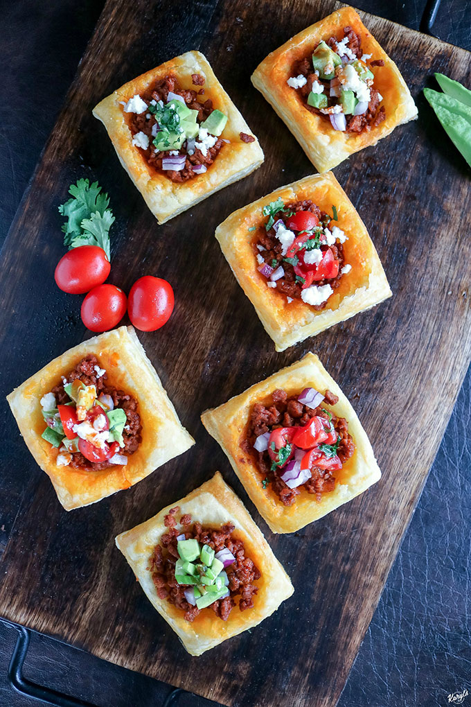 #Ad Vegetarian Chorizo Taco Puff Pastry Bites will wow your guests. This delicious appetizer features MorningStar Farms Chorizo Crumbles, finished with your favorite taco toppings. Easy to make, and ready in 20 minutes @walmart @morningstarfrms #MeatlessMonday #TasteIt2BelieveIt #MorningStarFarms #CollectiveBias #vegetarian #chorizocrumbles #chorizotacos #puffpastry #appetizer #fingerfood #entertaining #karylskulinarykrusade