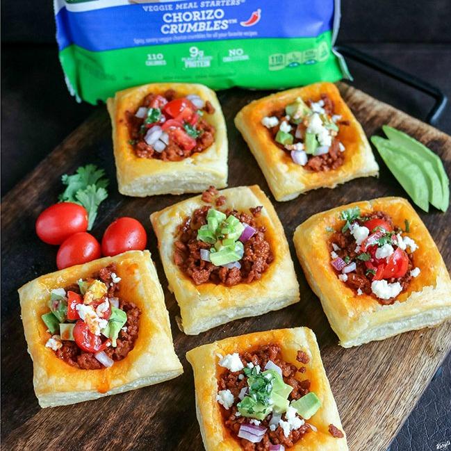 Vegetarian Chorizo Taco Puff Pastry Bites - Karyl's Kulinary Krusade