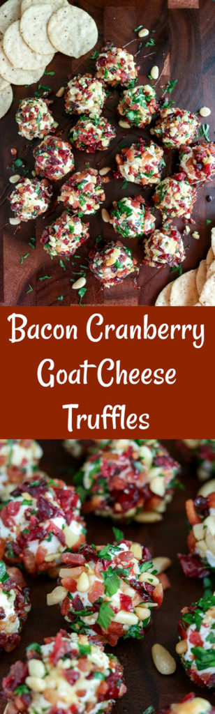 Bacon Cranberry Goat Cheese Truffles are a mouthwatering combination of creamy cheese, topped with salty bacon, sweet cranberries and crunchy pine nuts. These 2-bite appetizers are easy to make ahead, and delicious as a snack or to add to your entertaining spread. Enjoy on their own, or to top a cracker #cheese #goatcheese #creamcheese #bacon #driedcranberries #pinenuts #parsley #appetizer #bitesized #karylskulinarykrusade