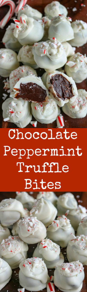 Chocolate Peppermint Truffle Bites will be your new favorite holiday treat. Use high quality chocolate, and finish with crushed candy canes for these rich, smooth and creamy bites of yum! #chocolate #meltedchocolate #dessert #bitesized #truffles #candycanes #karylskulinarykrusade