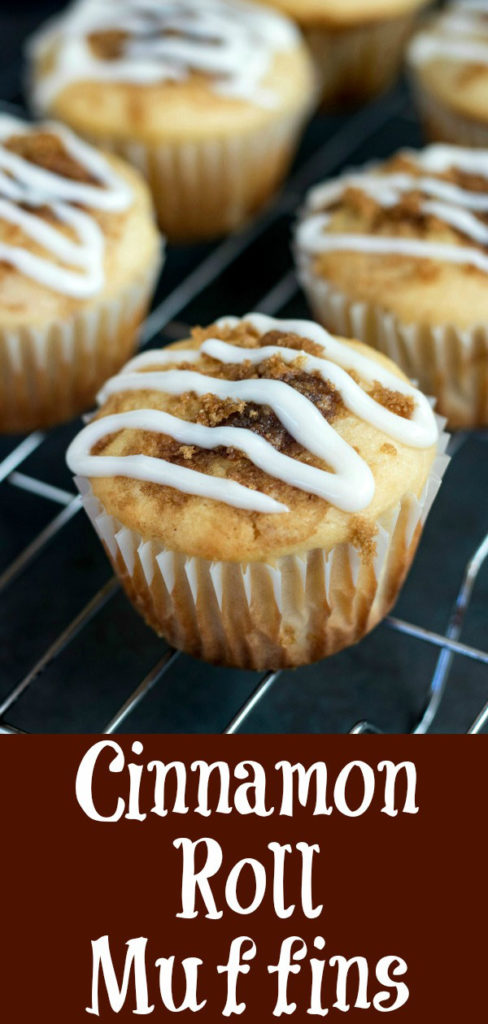 Cinnamon Roll Muffins have all the flavors of your favorite indulgent cinnamon rolls, in an easy-to-eat, handheld bite. Swirled and topped with a mouthwatering cinnamon sugar filling, and finished with a wonderful cream cheese drizzle, these are hard to resist #cinnamonroll #cinnamon #brownsugar #creamcheese #breakfastmuffin #karylskulinarykrusade