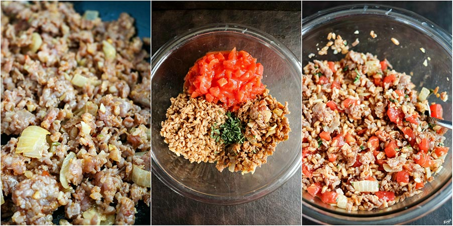 Farro Sausage Stuffed Peppers is a delicious and savory dish, combining hearty farro and Italian sausage into sweet bell peppers. Make the filling ahead, for an easy weeknight dinner, and you'll never look at stuffed peppers the same way again #stuffedpeppers #sausagestuffedpeppers #Italiansausage #farro #bellpeppers #dicedtomatoes #easyrecipe #JohnsonvilleItaliansausage #karylskulinarykrusade