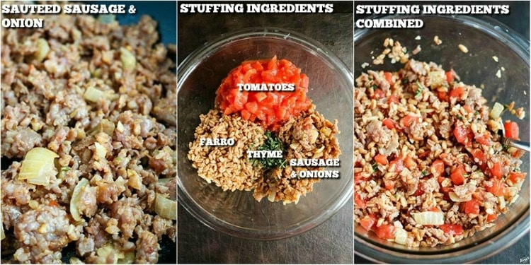 Process pictures: sauteed sausage; stuffing ingredients; ingredients combined
