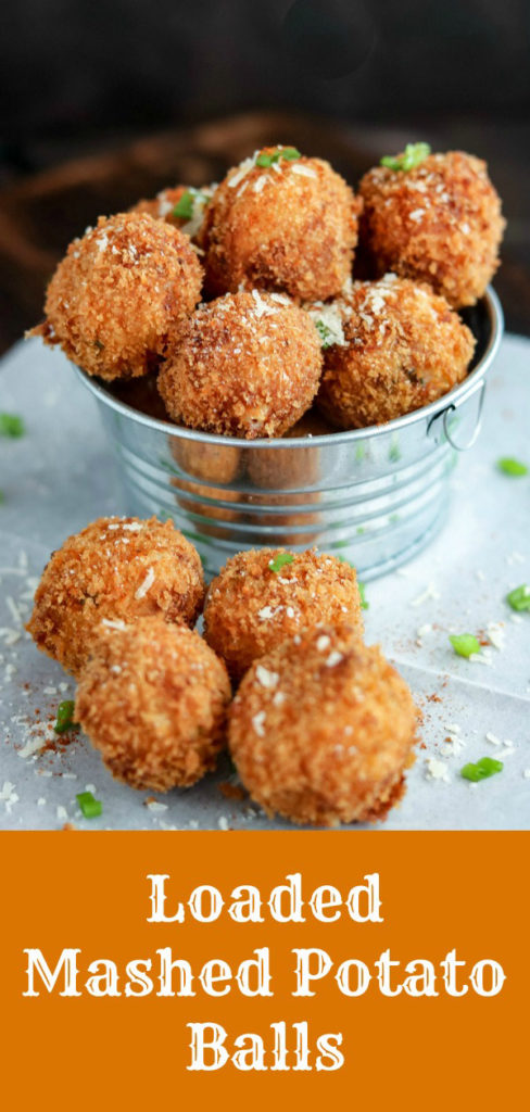 Loaded Mashed Potato Balls are the perfect way to use up leftover mashed potatoes. Filled with goodness, fried to golden perfection, these creamy bites are finished with the sharp bite of fresh-grated Parmesan cheese #potatoes #mashedpotatoes #bacon #cheese #friedfood #appetizer #fingerfood #leftovers #bitesized #entertaining #holidays #karylskulinarykrusade