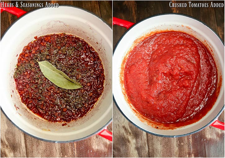 process shots: seasonings and bay leaf added on left, crushed tomatoes added on right