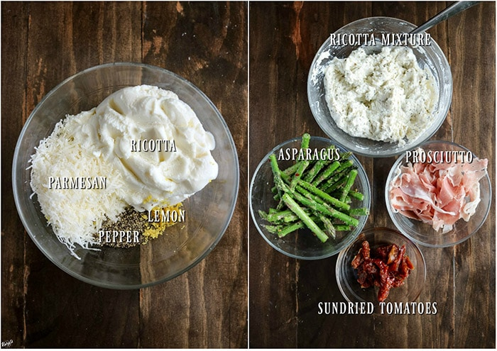 Process pictures: ingredients for ricotta mixture in a bowl on left; bowls with ricotta mixture, asparagus, prosciutto and sundried tomatoes on right