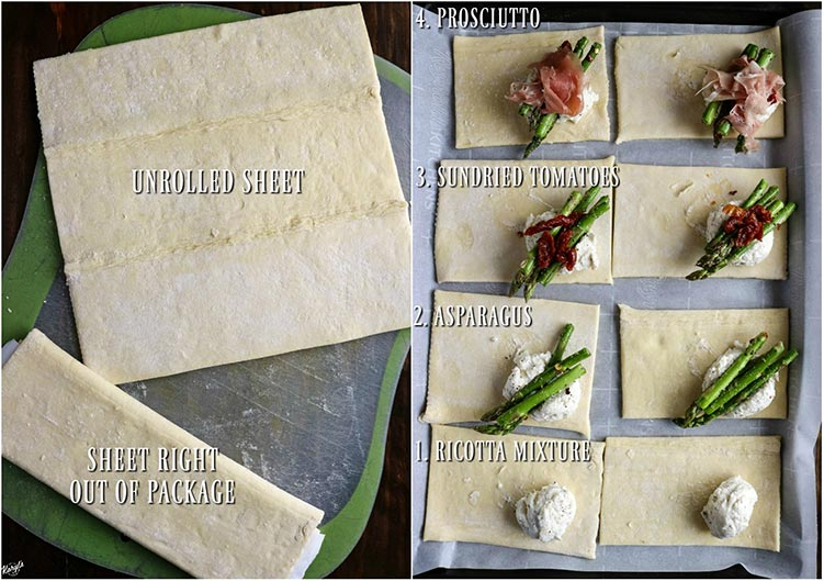 Process pics: 2 puff pastry sheets on left; 8 puff pastry sheet pieces, each piece filled with one layer of filling on right