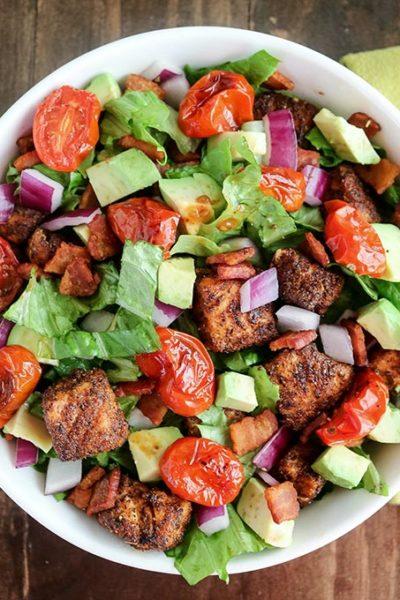Blackened Salmon BLT Salad - Karyl's Kulinary Krusade