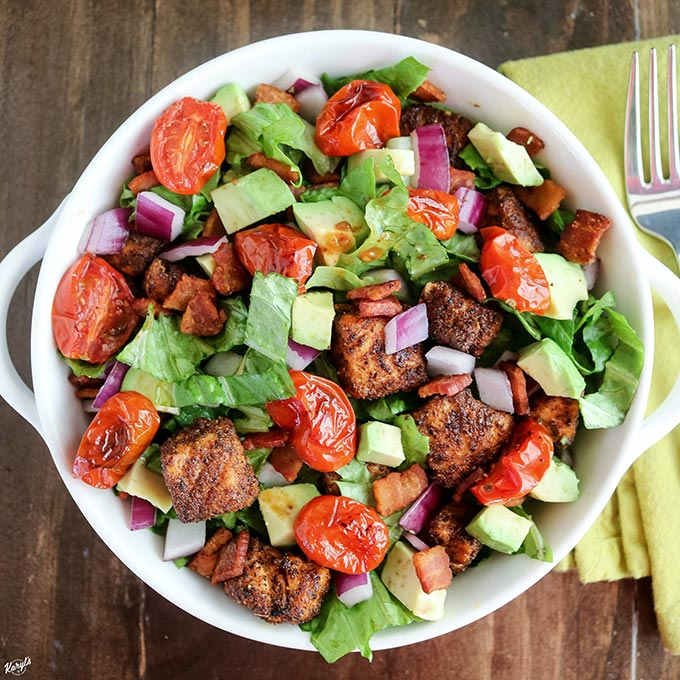 Blackened Salmon BLT Salad - Karyl's Kulinary Krusade