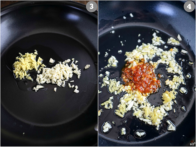 Overhead shots of skillet; ginger & garlic in left picture; hot chili paste added in right picture