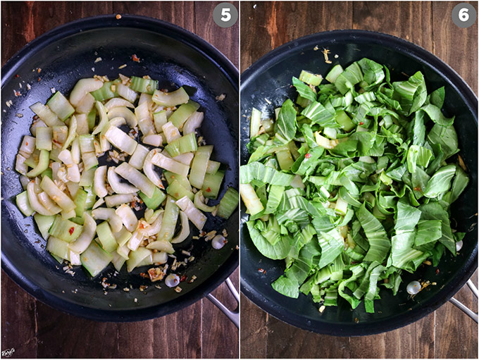 Overhead shots of bok choy in skillet; stems in left picture, leaves and stems in right picture