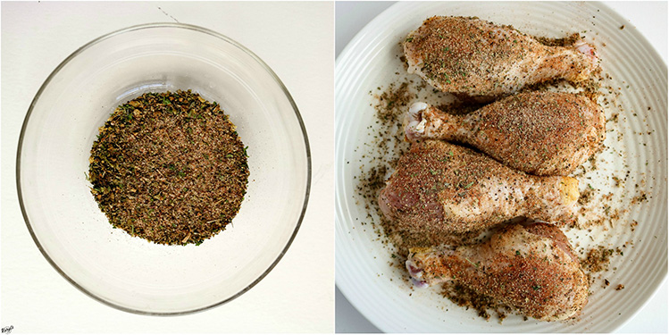 overhead shots of seasoning mix, seasoned chicken legs