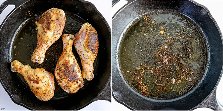 ovehead shots of chicken searing in skillet, and empty skillet with bits stuck to bottom