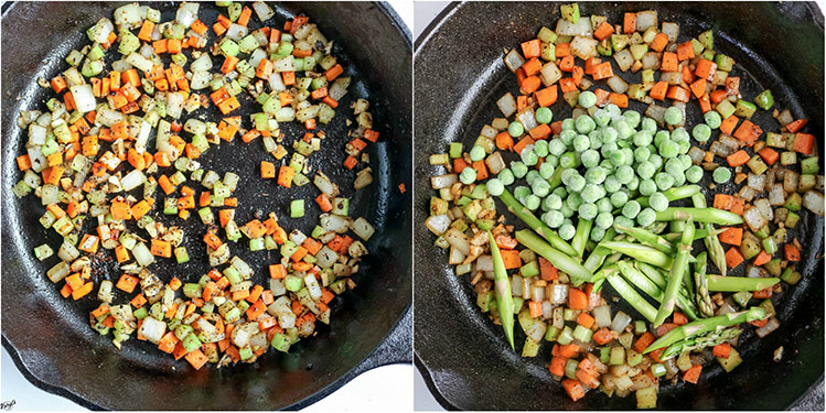 overhead shots of vegetables in skillet