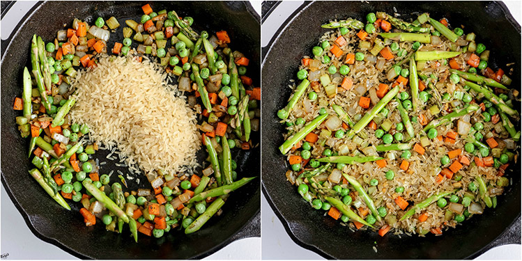overhead shots of rice added to skillet, mixed into vegetable combination