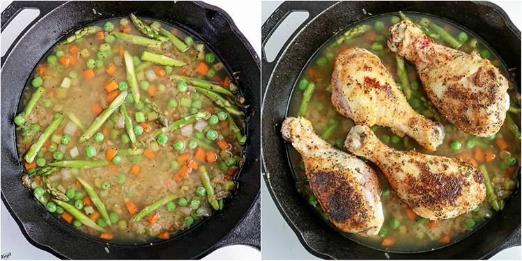 overhead shots of broth added to skillet, chicken legs placed on top of rice mixture