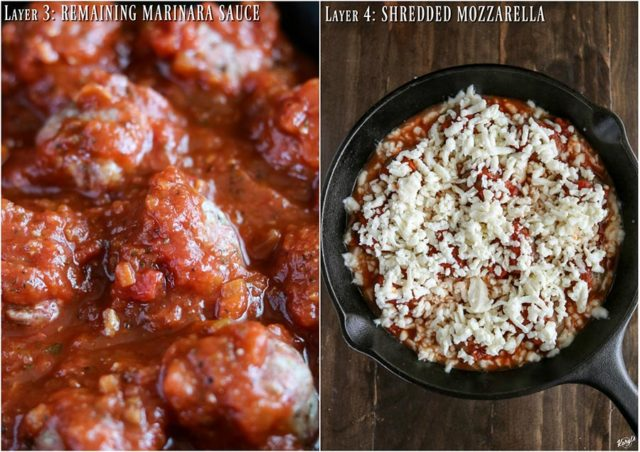 overhead process shots: marinara sauce covering meatballs on left; cheese added to skillet bake on right