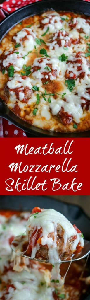 Meatball Mozzarella Skillet Bake is divine in every bite. Tender meatballs, bold marinara sauce, and gooey cheese are a perfect combination. Make your own meatballs for this one-pot recipe that is easy enough for a weeknight family dinner #meatballs #homemademeatballs #marinarasauce #homemadesauce #mozzarellacheese #cheese #skilletbake #onepotmeal #bakedmeatballs #karylskulinarykrusade