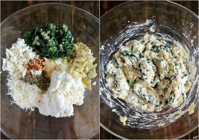 overhead process shots: filling ingredients in a clear bowl on the left; filling ingredients mixed together in a clear bowl on the right