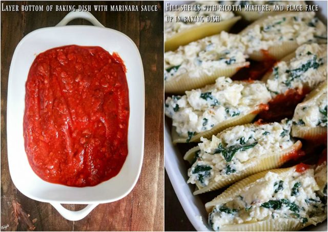 overhead process shots: marinara sauce layered in baking dish on the left; stuffed shells placed on top of marinara sauce on the right