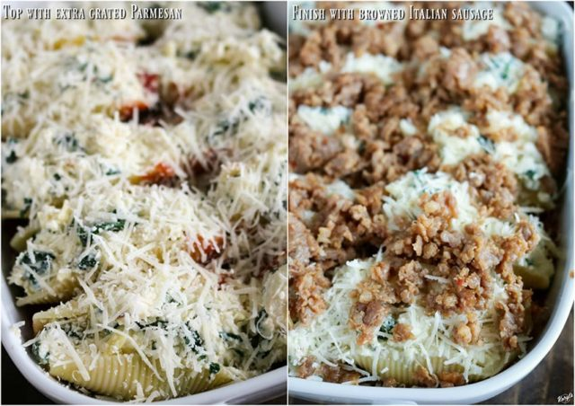 close up process shots: parmesan cheese added to top of shells on the left; sausage added to top of shells on the right