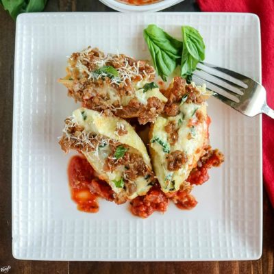 Sausage Spinach Artichoke Stuffed Shells