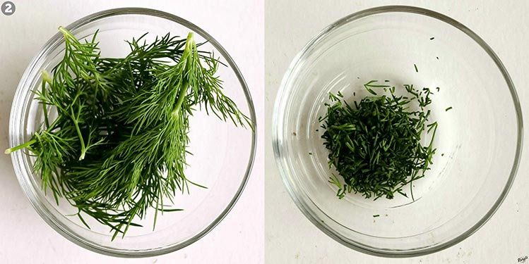 overhead shots of dill; dill leaves on left, minced dill on right