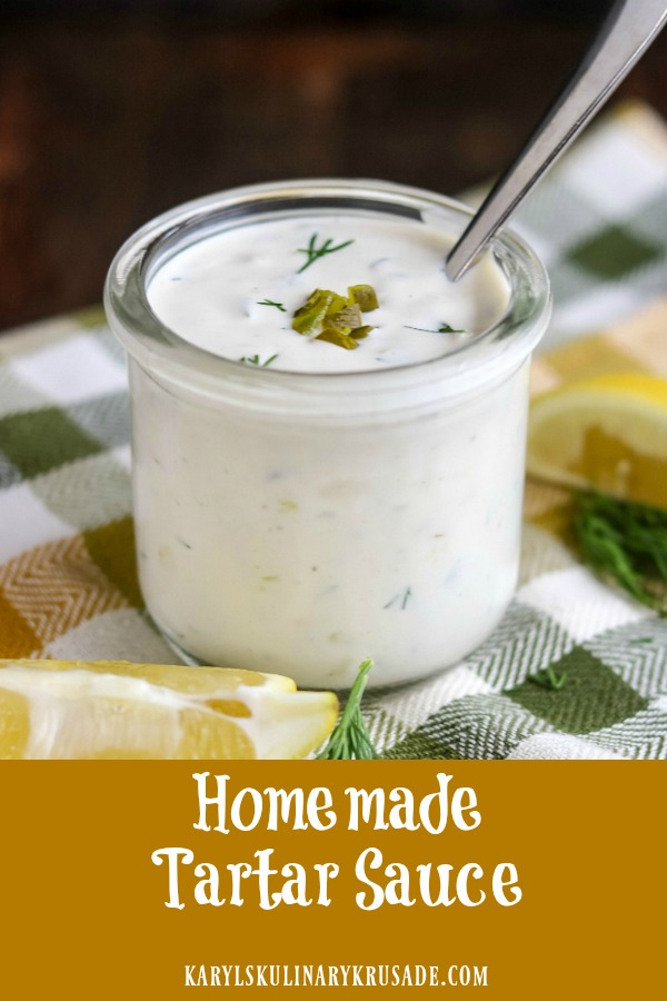 Homemade Tartar Sauce is a delicious condiment that is so easy to makeand ready in under 5 minutes. With just 6 simple ingredients, you'll want to keep it in the fridge all the time for your favorite fried seafood and more #sauces #condiments #tartarsauce #seafoodsauce #pickles #mayonnaise #greekyogurt
