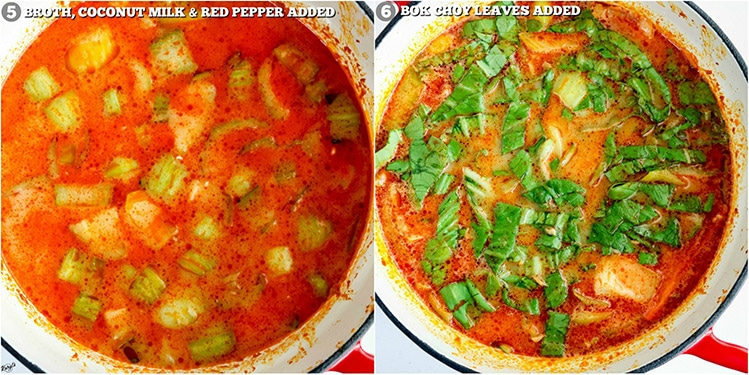 process pictures: broth, coconut milk & red peppers added on left; bok choy greens added on right