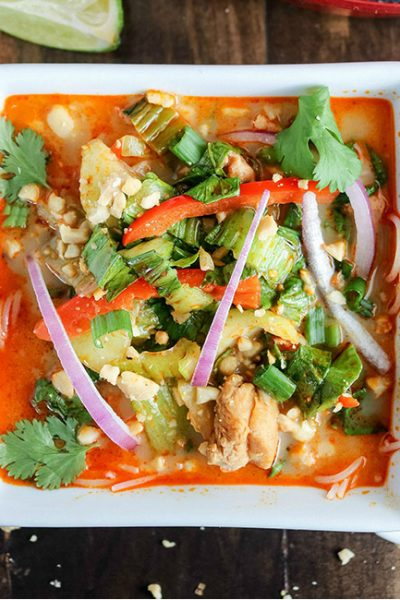Thai Noodle Soup, in serving bowl, topped with garnish