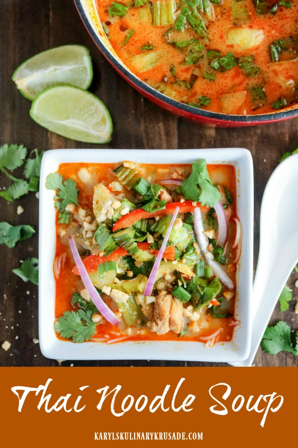 Thai Noodle Soup is a bold and flavorful soup, easy to make and on the table in 30 minutes. Creamy coconut milk, with a kick of heat from red curry paste, creates the mouthwatering broth for the chicken and vegetables. Serve over your favorite rice noodles for a delicious meal. #noodlesoup #spicysoup #soup #ricenoodles #redcurrypaste #coconutmilk #chicken #vegetables #glutenfree